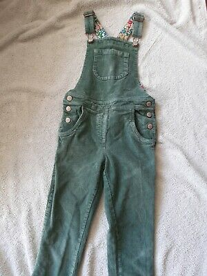 Mini Boden Girls Dungarees 7-8 Lovely Green Corduroy Cotton, Pretty Lining • 10.50£