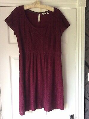 Fatface Raspberry Lace Tunic Dress. Lined With Side Zip. Size 14 • 9.75£