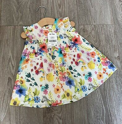 Next Dress Baby Girls Clothes 3-6 Months Summer New With Tags Floral Rainbows • 3.40£