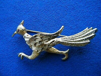 Vintage Signed Napier Brooch Pin Pheasant Road Runner Rare Costume Gold Tone • 9.99£