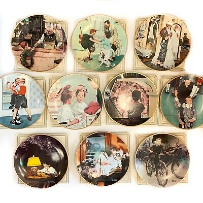 $ CDN139 • Buy Norman Rockwell Coming Of Age Series, Complete Set Of 10 Collector Plates W COA