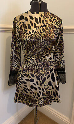 Missguided Size 8 Cut Out Side Mini Dress Lepard Print With Lace Detail  • 5£