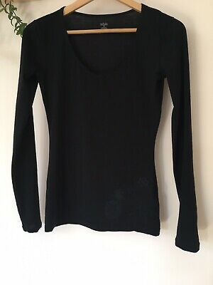 Icebreaker Merino Wool Black Long Sleeve Base Layer Top. Size XS. Fit Size 8 • 3.20£