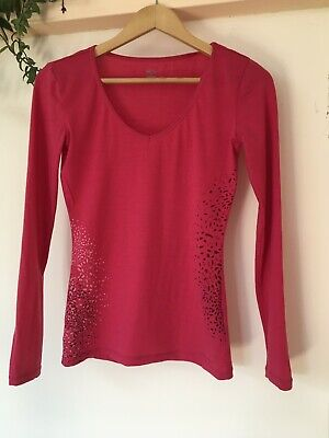 Icebreaker Merino Wool Pink Long Sleeve Base Layer Top. Size XS. Fit Size 8 • 2.20£