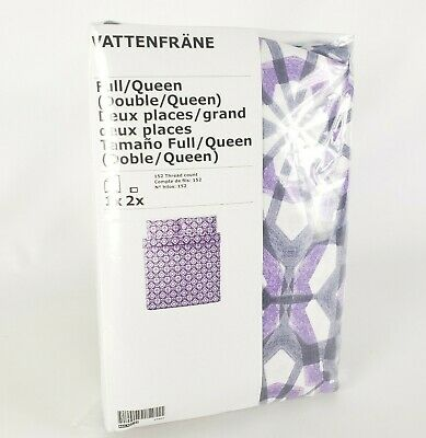 Ikea Vattenfrane Duvet Cover And Pillowcase Set Full Queen Purple Geometric New • 29.35£