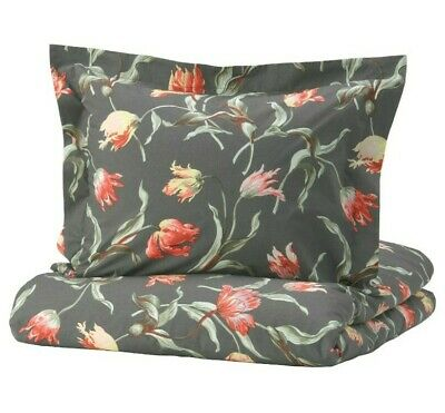 Ikea Alandsrot Full/Queen Duvet Cover 2 Pillowcases Bed Set Dark Gray Floral New • 42.84£