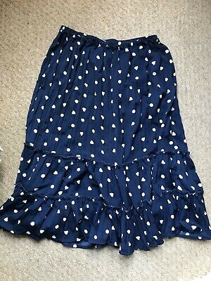 Mini Boden Girls Skirt, Navy With White Polka Dots And Hearts, 11-12yrs • 1.20£