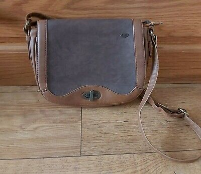 Animal Tan Brown Leather Cross Over Shoulder Bag Long Strap Small Crossbody Bag  • 3.99£