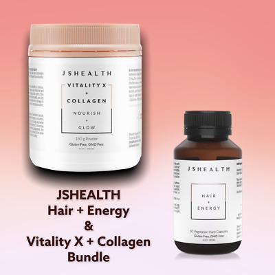 AU119.95 • Buy JS Health Hair + Energy  And JSHEALTH Vitality X + Collagen Glow-- Skin And Hair