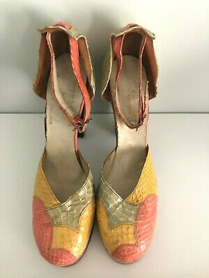Original Vintage 1970s Snakeskin Terry De Havilland Pastel Shoes UK Size 6 • 400£