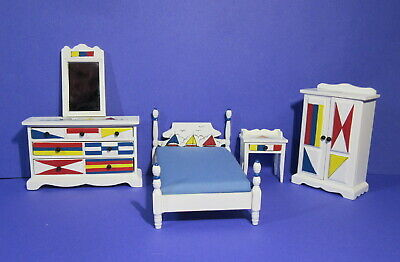 BEACH Nautical Dollhouse Boy BEDROOM Set Hand Painted BOATS Wardrobe POSTER Bed • 92.97£