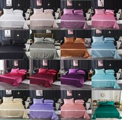 AU30.99 • Buy Fine Cozy Satin Silk 3Pcs Bedding Set Flat Bed Sheet Pillowcase Flat Sheet H_194