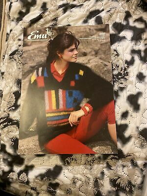 Emu Knitting Pattern Ladies Mohair V Neck Sweater • 1.95£
