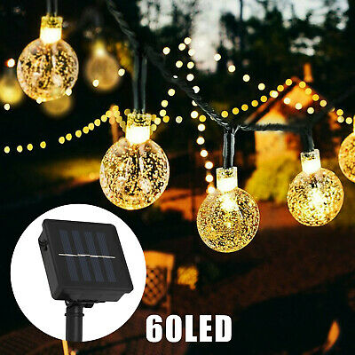 12M 60 LED Solar String Fairy Lights Outdoor Waterproof Warm White Garden Decor • 7.99£