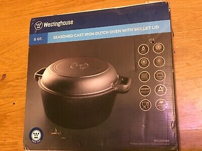 $ CDN101.48 • Buy Westinghouse Cast Iron 5 Qt Seasoned Dutch Oven Skillet Lid Pot Cookware Blk NIB