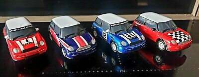 FOUR X Micro Scalextric BMW Mini Coopers 1:64 Scale • 11.30£