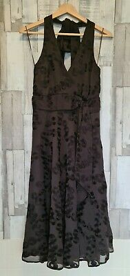 JOHN ROCHA Embroidered Circle Dress Brown Size 14 • 8£