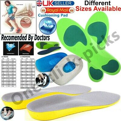 £2.99 • Buy Orthotic Insoles For Arch Support Plantar Fasciitis Flat Feet Back & Heel Pain