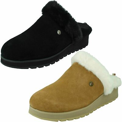 Ladies Bobs From Skechers Suede Mule Slippers Snow Magic Great Mothers Day Gift • 39£