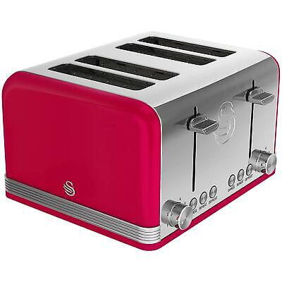 £47.23 • Buy Swan 4 Slice Retro Toaster Red - Removable Crumb Tray - High Lift - Cord Storage