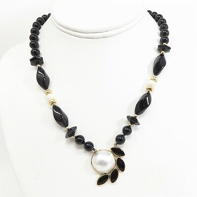 $699 • Buy NYJEWEL 14k Yellow Gold 17.9mm Mabe Pearl Black Onyx Necklace 17  38.6g