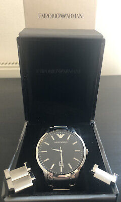 Mens Silver Emporio Armani Watch AR2457 With The Box, Stainless Steel Black Dial • 69.99£