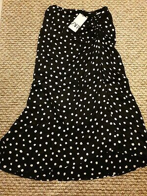 Zara Black And White Polka Dot Wrap Style Ruched Skirt Size L BNWT • 3£