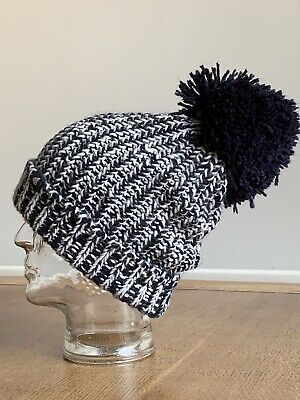Peter Storm Ladies Navy & White Chunky Knit Bobble Hat With Extra Large Pom Pom • 2£