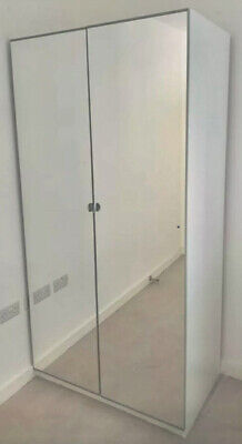 IKEA PAX Wardrobe With VIKEDAL Mirror Doors Two Hanging Rails • 40£