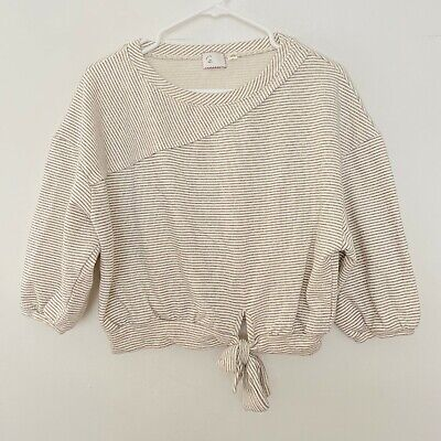 $ CDN18.65 • Buy Postmark Anthropologie S Small Oversized Striped Tie Front Sweater Top Cream