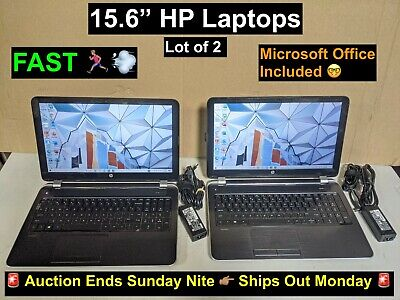 $ CDN202.60 • Buy Lot Of 2 HP 15.6  FAST Windows 10 Laptops 2.0GHz 8GB RAM 750G HDD + Word & Excel