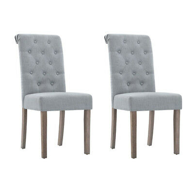AU173.97 • Buy Artiss 2x Dining Chairs French Provincial Fabric High Roll Back Wood Light Grey