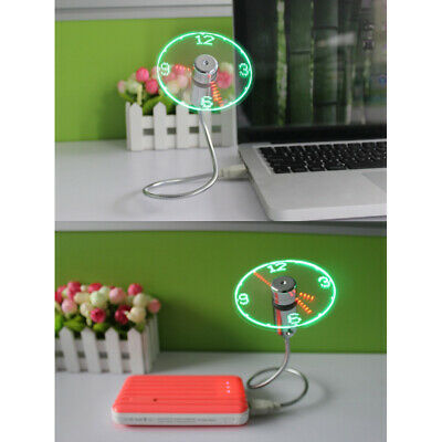 AU8 • Buy Mini Clock Fan USB Powered LED Cooling DC 5V Flashing Real Time Display Silver