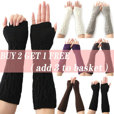AU11.39 • Buy Womens Wrist Arm Hand Warmer Long Fingerless Gloves Thermal Knitted Mittens