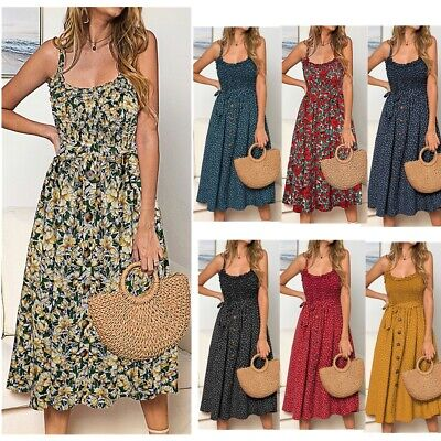 Womens Polka Dot Floral Midi Holiday Strappy Dress Ladies Beach Button Sundress • 11.99£