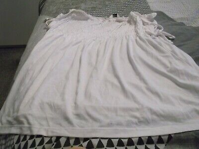 Ladies White Ruched Chest, Shoe String Ties Top, Size 18 By Editions, Polyester/ • 0.99£