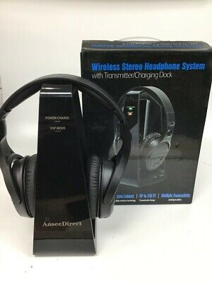 Wireless Stereo Headphone System With Transmitter Charging Dock 2.4Ghz #Gik • 25£