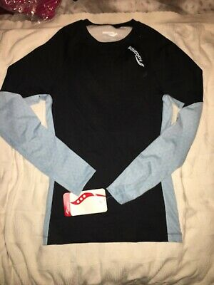 BNWT Beautiful Black And Blue Long Sleeve Base Layer Top • 5£