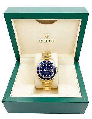 $ CDN29516.75 • Buy Rolex Submariner 16618 Blue Dial 18K Yellow Gold Excellent Condition