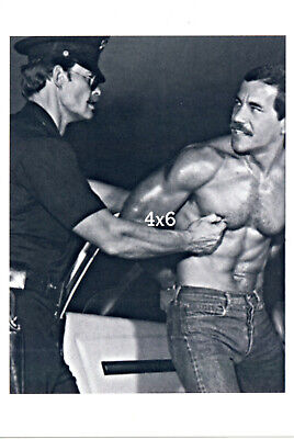 $ CDN9.52 • Buy Police Officer Arrests Shirtless Hairy Mustache Male Gay Interest B&W 4x6 Photo