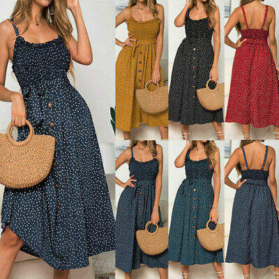 UK 6-16 Women Summer Sleeveless Polka Dot Beach Dresses Stretch Holiday Sundress • 12.99£