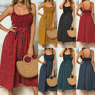 Women Sleeveless Dress Polka Dot Dress Stretch Holiday Beach Sundress Long Dress • 9.99£
