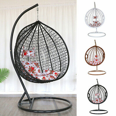 Single Rattan Hanging Egg Swing Chair With Stand Cushion Indoor Outdoor Garden • 309.95£