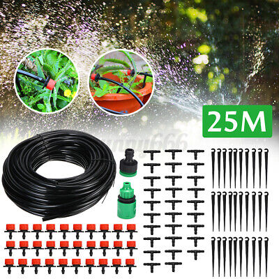 Micro Irrigation Pipe Drip System Kit Plant Watering Hose Garden Patio 10/20/25M • 9.42£