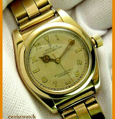 $ CDN7562.98 • Buy Vintage 40's Rolex Oyster Perpetual Chronometer Solid 14K Gold Bubbleback W/Box