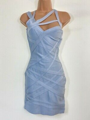 CELEB BOUTIQUE Light Baby Blue Sexy Bandage Bodycon Dress Size S Small UK 8 • 24.99£