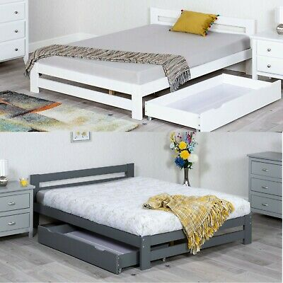 £159.99 • Buy Low Foot End Bed, Xiamen Wooden White Or Grey Bed With 3 Size 4 Mattress Options