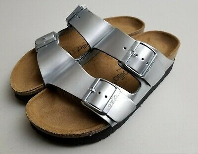 Birkenstock Papillio Arizona Silver Platform Sandals Size 38 Narrow AS IS  • 48.84£