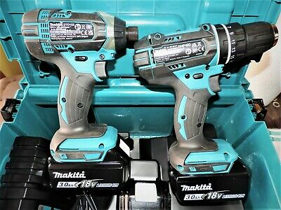 MAKITA 18V  LI-ION LXT TWIN PACK DRILL & IMPACT And 3x 3Ah Batteries • 265£