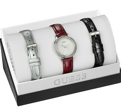 $ CDN82.47 • Buy Guess Women's Crystal Accent 30mm Watch With Interchangeable Leather Bands